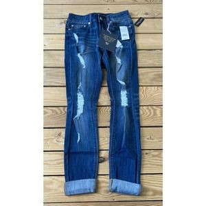 NWT INDIGO REIN Blue Roll Cuff Crop Jeans Size 3